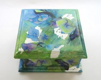 Decoupage Box/ Keepsake Box/ Jewelery Box/ Decorative Box - Hydrangeas on Handpainted Background