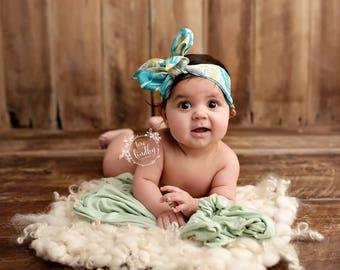 TEAL FLORAL Gorgeous Wrap- headwrap; fabric head wrap; floral head wrap; boho; newborn headband; baby headband; toddler headband