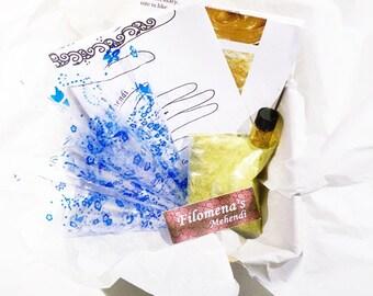 Henna kit, Henna powder, Body art, Natural, Mehndi, Henna tattoo, Temporary tattoo, Henna paste - Henna Kit 100% Natural Henna (25 grams)