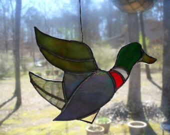 Duck : handmade original design stained glass piece