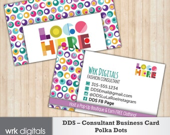 Dot Dot Smile Consultant Business Card, Polka Dots Design, Customized Business Card, Direct Sales, Fashion Consultant
