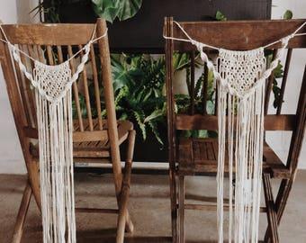 2 macrame chair backs | macrame wedding decor | sweetheart table | chair shags
