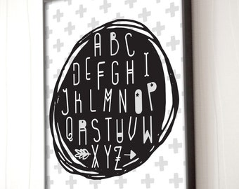 Alphabet print, nursery alphabet art, Kids room decor, ABC poster, kids print, ABC, Scandinavian, alphabet prints, home decor, nursery decor
