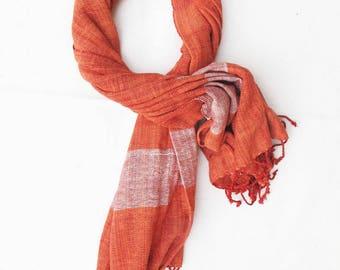 Thai Cotton Scarf - soft texture, hand woven, handmade shawl/scarf