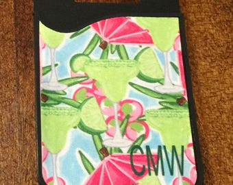 Monogrammed iPhone Card Case - Personalized iPhone Credit Card Holder - Adhesive iPhone Card Holder - Cell Phone Card Caddy - ID Card Holder