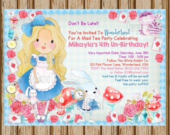 "Alice In Wonderland Birthday Invitations- Alice in Wonderland Birthday Party- Alice In Wonderland Invitations- 5"" x 7"" size- Digital Invite"