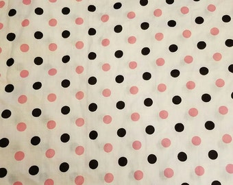 """Vintage pink & black polka dotted cotton fabric 2 yards 34"""" Wide VF1"""