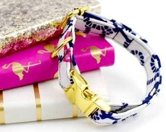 Dog Collar - Lilly Pulitzer - Ahoy There - Navy/White/Pink - Yellow Gold Hardware