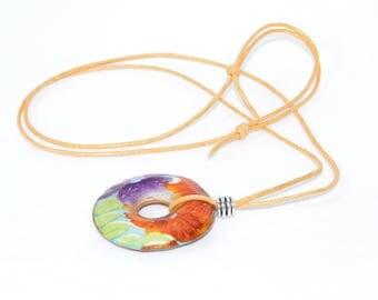 Orange colour scheme adjustable necklace