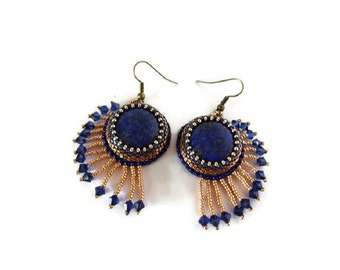 Egyptian blue and golden Earrings, Blue and Golden Earrings, Lapis Lazuli Earrings, Ethnic earrings