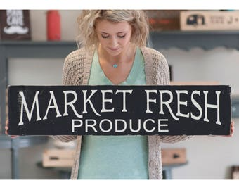 Market Fresh Produce Rustic Home Decor Wood Sign | Kitchen Sign | Farm Fresh Bakery Sign | Farmhouse Style Sign | Mom Gift