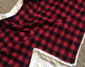 Red and black plaid faux fur blanket / Toddler blanket / minky blanket / hunting nursery bedding / woodland baby blanket/ baby shower gift