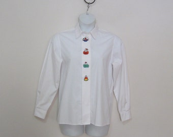80s embroidered misses size 10 halloween decorations white long sleeve shirt see details - Etsy Halloween Decorations