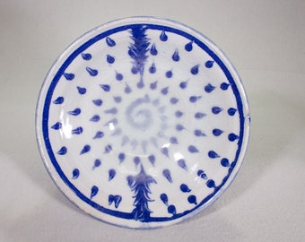 Blue and White Wheel Thrown Stoneware Bowl with Raindrop and Feathers Pattern