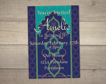 Moroccan Nights Invitation, Arabian Nights Party, Arabian Nights Invitation, Arabian Nights Birthday -with FREE Thank you card. Digital File