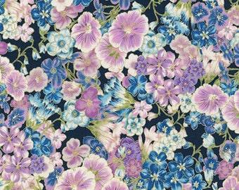 Robert Kaufman - Grand Majolica - SRKM-15838-9 Navy - Flowers - Metallic Highlights - Delicate - Blue - One More Yard