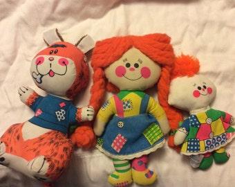 Vintage 1970 s rag dolls