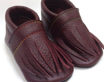 Leather toddler shoes READY TO SHIP Moccasins Eco-friendly Funky Recycled gift infant girl boy