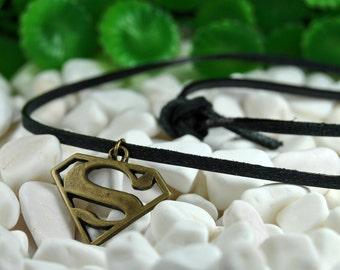 Men's Leather Necklace, Black Leather, Superman Cuff, Superhero Necklace, Superman Symbol, Women's Necklace, Superman Charm Pendant, Gift