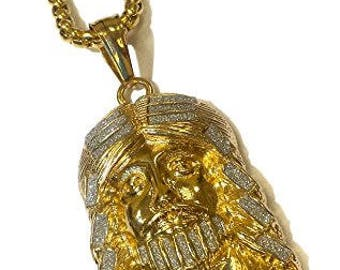 18k Gold Plated Jesus Face Pendant Stainless Steel Necklace