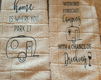 Camping hand towels decor.  Home is where you park it. Camping. Camping towels.   Camping decor. Trailer decor