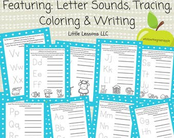 Printable alphabet tracing, writing, coloring pages, beginning sounds, learn to write, letters, preschool, diy, homeschool, worksheets