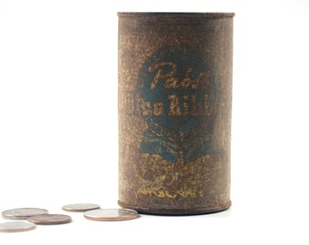 Antique Vintage Pabst Blue Ribbon Beer Can Bank Mini Coin Money Metal Tin Storage Rusty Primitive Man Cave Bar Decor Mantique Gifts For Him
