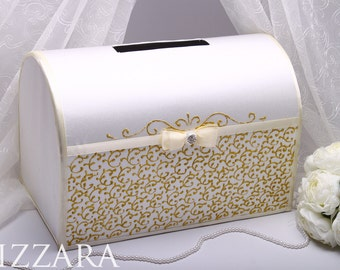 Money Box Gold Hand Painted Wedding Gift Card Decor Holder