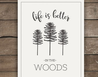 Life is Better in the Woods, Wall Prints, Farmhouse Style