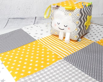 Baby Quilts Handmade, Baby Blanket, Yellow, Gray, Grey,Patchwork Quilt, Crib Blanket, Baby Gift, Yellow and gray baby quilts