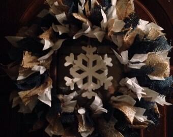 SALE! Winter Snowflake Handmade Rag Wreath