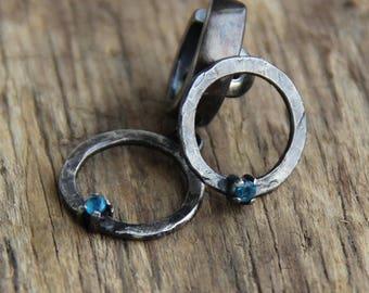Asymmetrical sterling silver apatite earrings rustic earrings artisan earrings metalwork earrings artisan jewelry Asymmetrical earrings