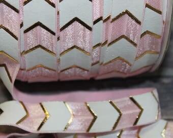 "5/8"" Light Baby Pink,  White, Gold Foil Chevron Metallic Wide Arrow DIY Headband Supplies Fold Over Elastic FOE per Yard"
