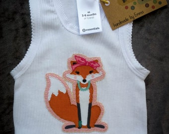 LADY FOX designer print appliqued white baby girl singlet. Size 00. Christmas gift!