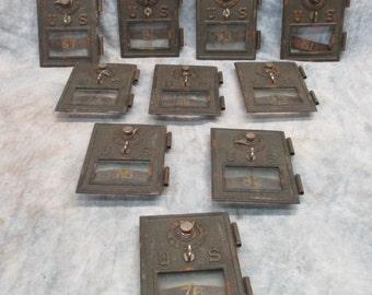 10 U.S. Post Office Box Doors Combination Lock Bronze Mailbox Vintage Brass b