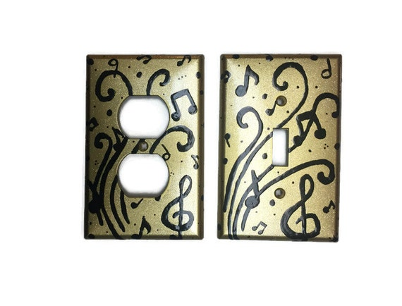 Music Notes Hand Painted Light Switch By Owhatawonderfulworld