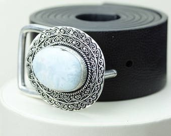 Oval Shaped GENUINE CARIBBEAN LARIMAR Vintage Filigree Antique 925 Fine S0LID Sterling Silver + Copper Belt Buckle T59