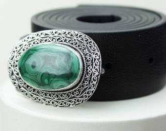 Superb Pattern! Genuine MALACHITE Vintage Filigree Antique 925 Fine S0LID Sterling Silver + Copper BELT Buckle T70