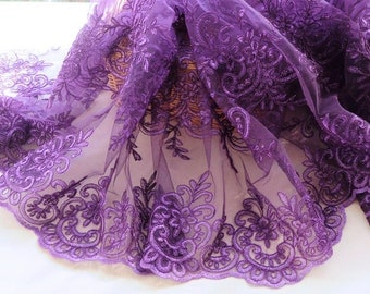 Width 51.18 inches lace fabric,purple embroidered lace,3D lace fabric,scalloped trim lace for DIY dress,130CM(95-151)
