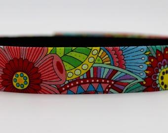 Bright Colouring Book Dog Collar, Colourful Dog Collar, Feminine Dog Collar, Rainbow Dog Collar, Large Dog Collar, Girl Dog Collar, Girlie