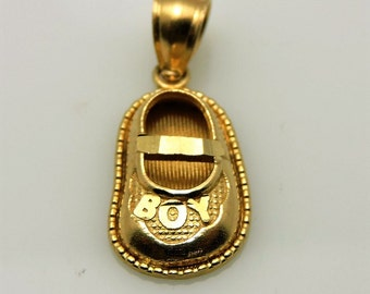 14K Yellow Gold Tiny Shoe Charm WIth BOY wording 1.4 Grams