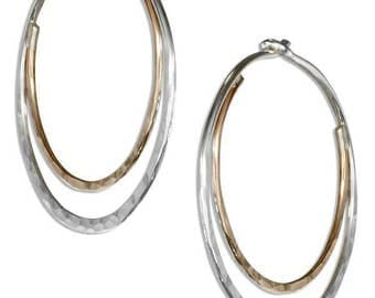 Sterling Silver and 12 KT Gold Filled Hammered 25MM Double Hoop Earrings