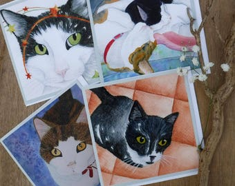 Artists Cards I - Cats, set of four.
