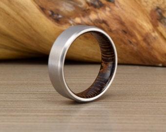 Titanium White Oak Wedding Ring Mens Band