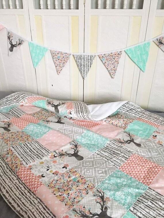 Quilt Crib Bedding Baby Girl Deer Blanket Stag Buck Comforter