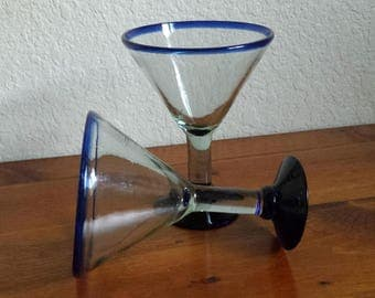 Hand Blown Mexican Martini Glasses