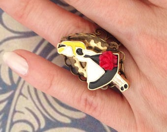 Ring size adjustable dress black and red rose Alice