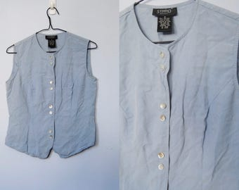 Vintage Silk Sleeveless Top, 1990s Button Front Tank Top -- french blue, blue grey, pure silk top, vest, minimalist, 1990s 90s clothing