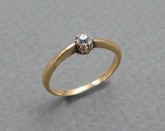14K rose diamond solitaire size 5