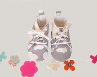 6/9 months-Baby shoes-gray and white sneakers - trendy shoes for little boy- little girl.